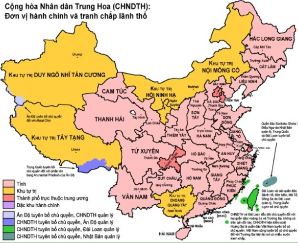Ban do Trung Quoc ngay nay